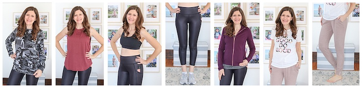 collage of seven different tops, sports bra, leggings and joggers from Wantable Active Edit