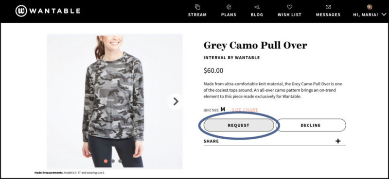 screenshot of grey camo pullover to request in Wantable Stream