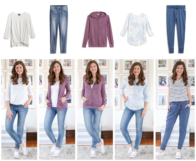 Collage of product photos and clothes being worn from Stitch Fix review