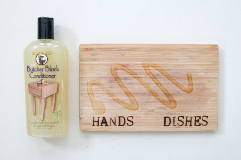 Butcher Block conditioner applied to DIY woodburned kitchen soap dispenser tray