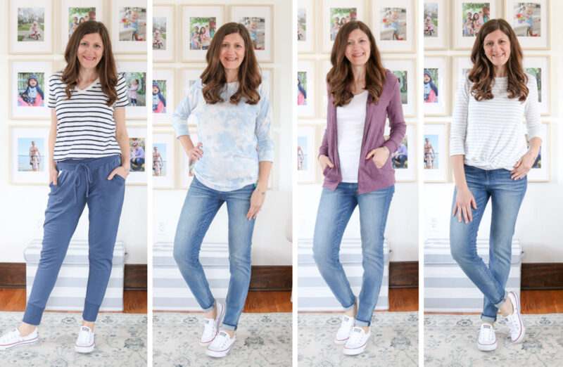 Collage of outfits made from an April Stitch Fix review