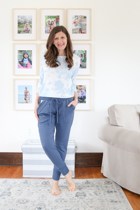 blue Free People Sunny Drawstring Joggers from FP Movement with tie-dye top from Stitch Fix