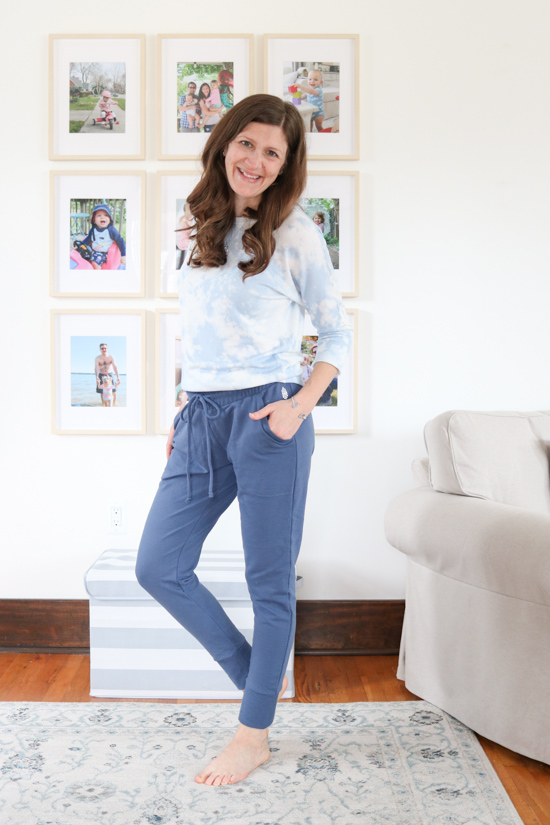 blue Free People Sunny Drawstring Joggers from FP Movement with tie-dye top - spring Stitch Fix review