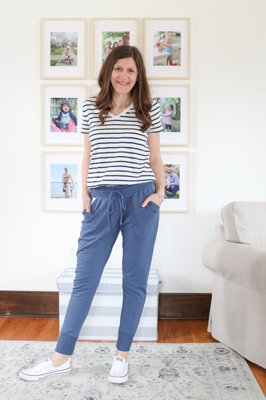 blue Free People Sunny Drawstring Joggers from FP Movement with blue striped top - spring Stitch Fix review