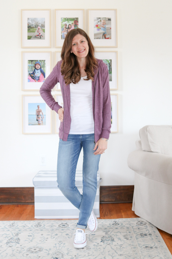 purple Blakely Zip Up Hooded Brushed Knit Top from Market & Spruce - April Stitch  Fix review