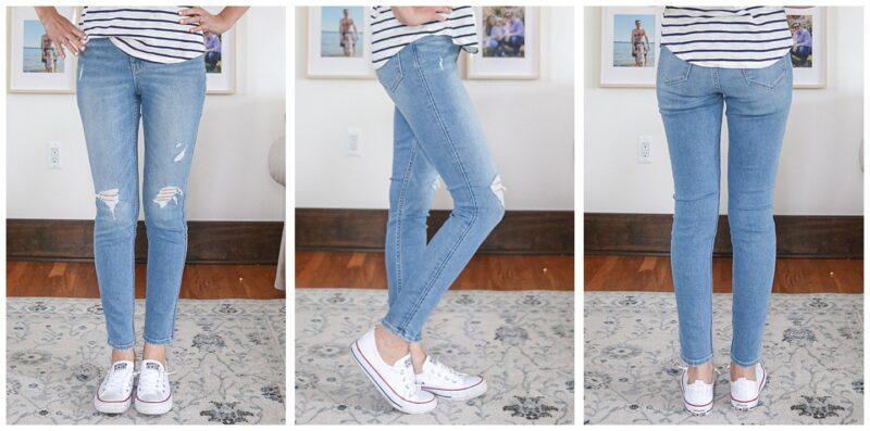 front, side and back view of light wash Rockstar Super Skinny Extra High Rise jeans with holes