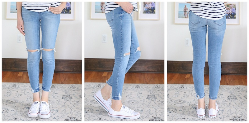front, side and back view of Distressed Rockstar Super Skinny Jeans with holes