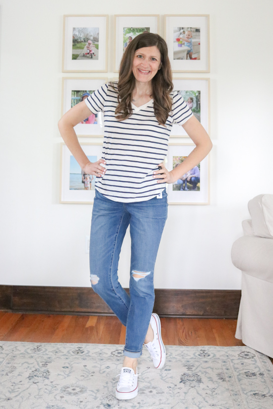 medium wash Pop Icon High-Waisted Distressed Skinny Jeans with holes on knees | Old Navy denim try-on
