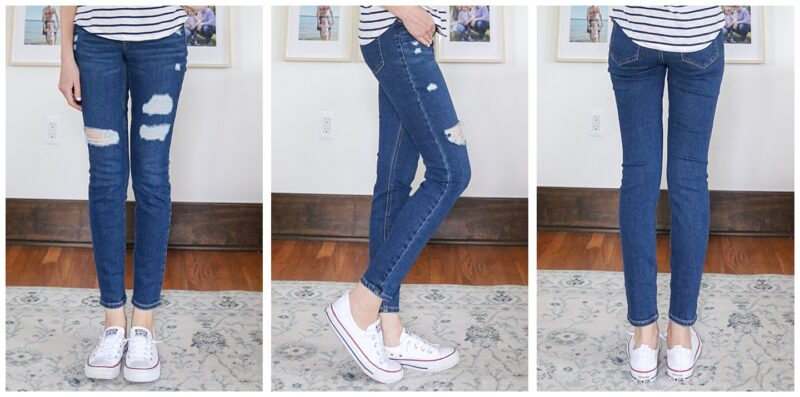 front, side, and back view of Rockstar Super Skinny Mid Rise Jeans with holes