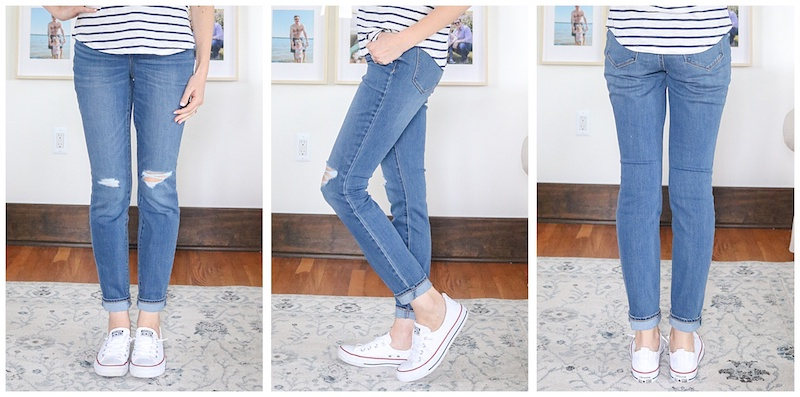 front, side and back view of Pop Icon High-Waisted Distressed Skinny Jeans with holes on knees