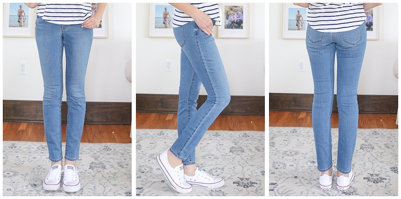 front, side and back view of medium wash Pop Icon Mid-Rise Skinny Jean without distressing