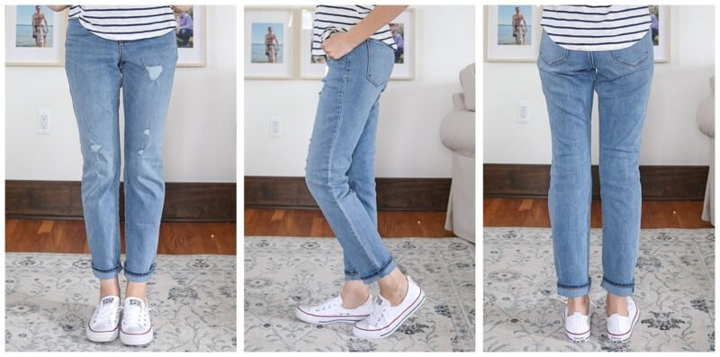 front, side and back view of distressed Power Slim Straight High Rise jeans