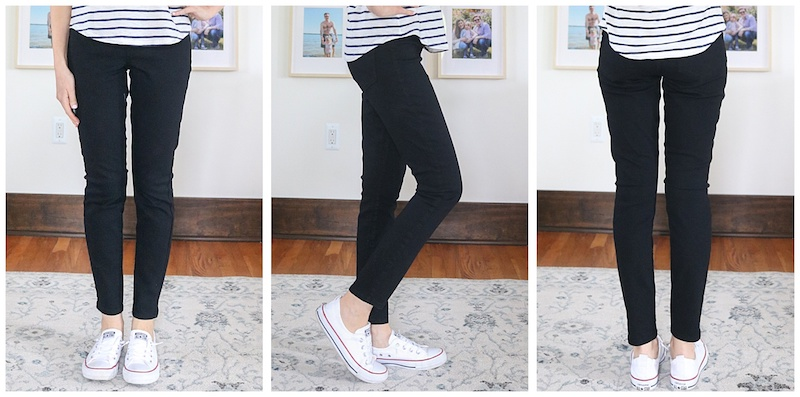front, side and back view of black Super Skinny Pull-On Jeggings