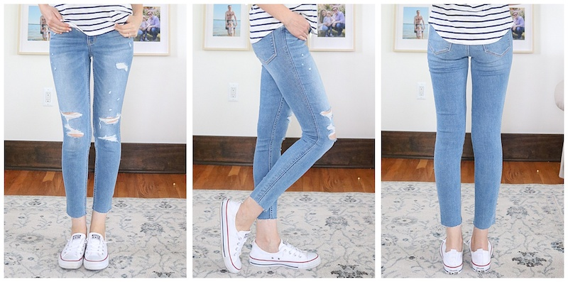 front, side and back view of light wash distressed Rockstar Super Skinny Extra High Rise Jeans from Old Navy