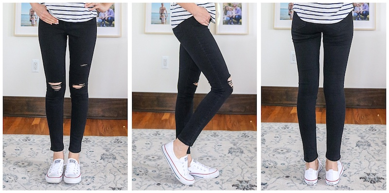 front, side and back view of black ripped High-Waisted Rockstar Super Skinny Jeans