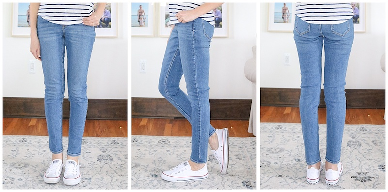 front, side, and back view of Rockstar Super Skinny High Rise Jeans without holes