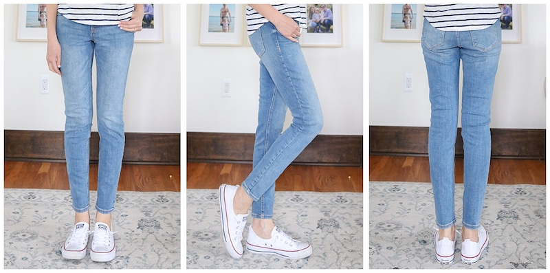 front, side, and back view of light wash Rockstar Super Skinny Mid Rise Jeans