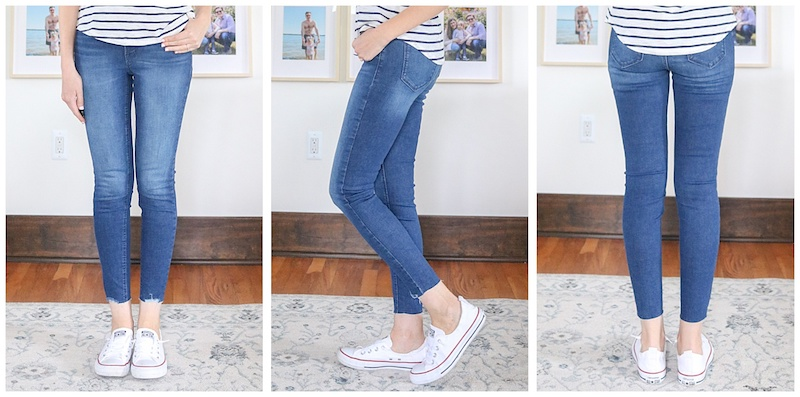 front, side and back view of raw hem Rockstar Super Skinny High Rise jeans
