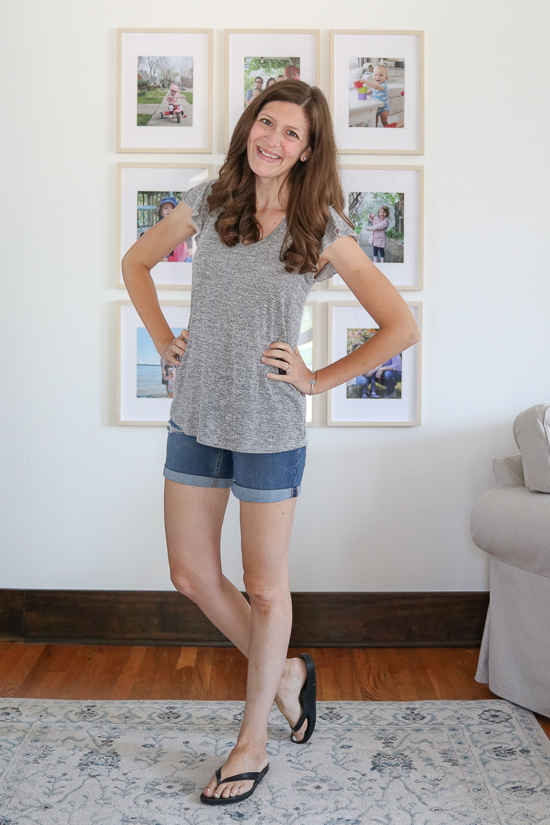 fashion subscription box review featuring Jacki Hacci Top from Natural Life with denim shorts