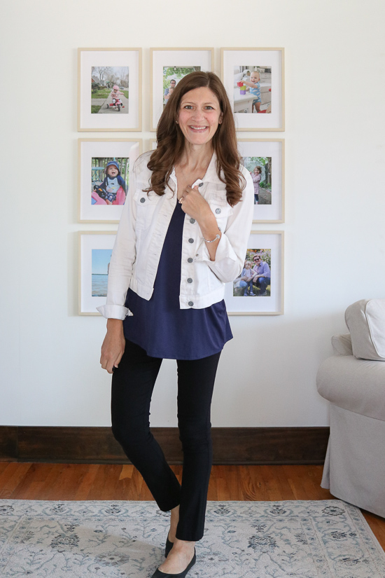 navy blue Sarina top from Lovely Meoldy with black pants and white denim jacket - fashion subscription box review