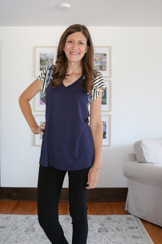 navy blue Sarina top from Lovely Meoldy with black pants - Fashom subscription box review