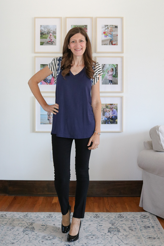 Stitch Fix competitor Fashom review of navy blue Sarina Top from Lovely Melody with black pants and heels