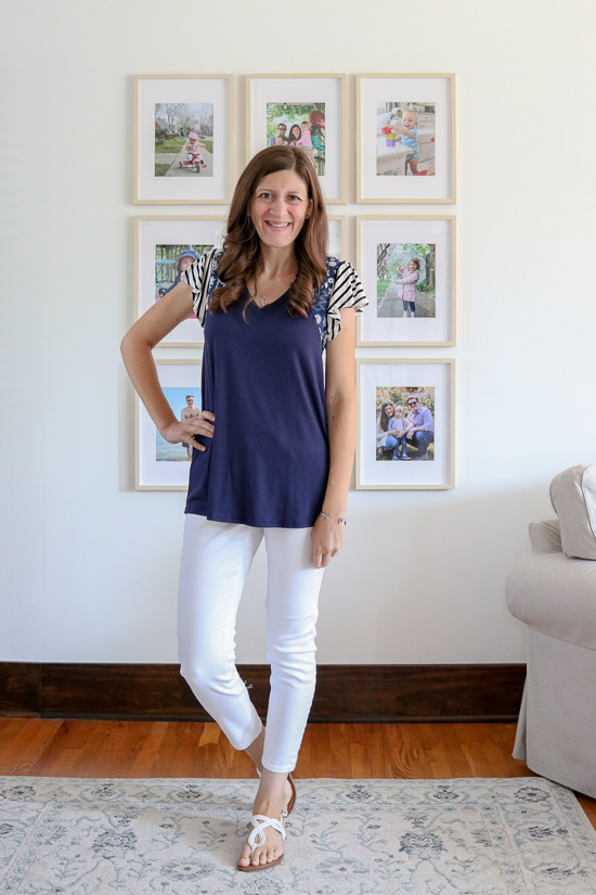 Fashom subscription box review of navy blue Sarina Top from Lovely Melody with white cropped jeans