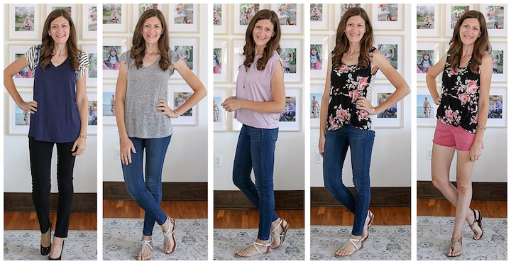 5 outfits created from Fashom subscription fashion box