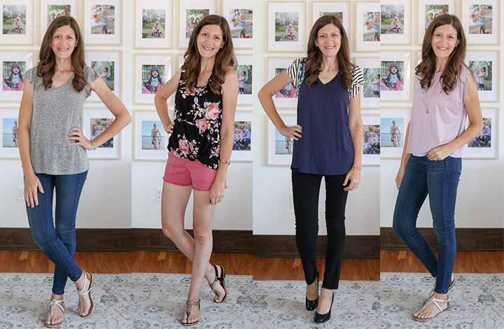 Four looks created with Stitch Fix Competitor Fashom style box